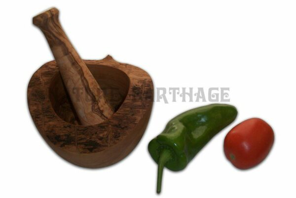 Olive wood round mortars and pestles